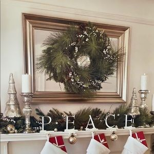 Pottery Barn Luxe Pine Wreath with red berries